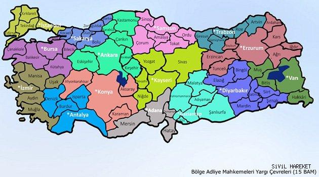 Türkiyede Yargı 15 bölgeye ayrıldı