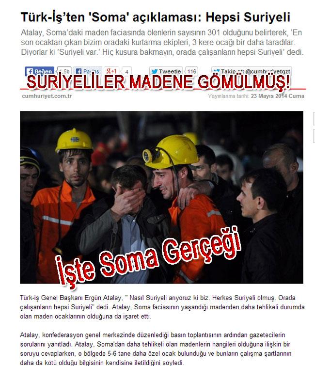 Türk-İş'ten 'Soma' açıklaması: Hepsi Suriyeli